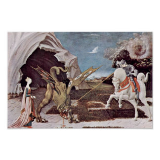 St. George Fighting de Draak door Uccello Paolo Poster