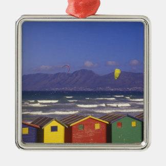 St. James Bay Bathing Boxes, dichtbij Kaapstad, 2 Zilverkleurig Vierkant Ornament