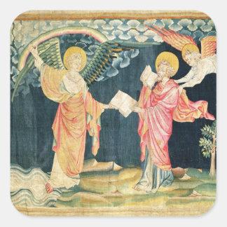 St. John Eating het Boek Vierkante Sticker