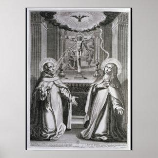St. John van het Kruis en St. Theresa van Avila Poster