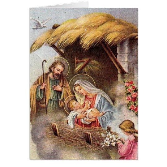 St. Joseph Virgin Mary Baby Jesus van de geboorte Briefkaarten 0