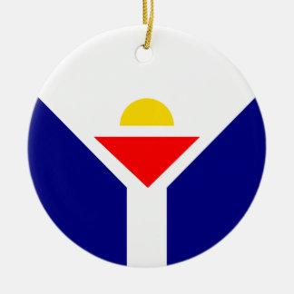 St. Martin Flag Rond Keramisch Ornament