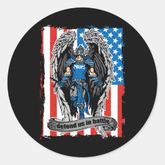 St. Michael Angel Defend Us in Slag Ronde Sticker