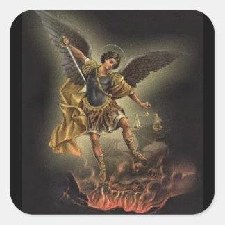 St. Michael de Duivel van het Pantser van het Vierkante Sticker