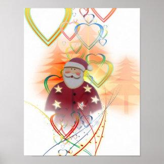 St. Nicholas de Kerstman het Art deco van de Boom  Poster