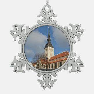 St. Nicholas Kerk, Tallinn, Estland Tin Sneeuwvlok Ornament