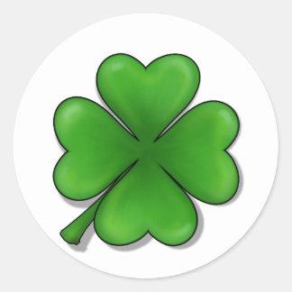 St. Patrick Dag, de Klaver van Vier Blad Ronde Sticker