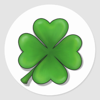 St. Patrick Dag, de Klaver van Vier Blad Ronde Stickers