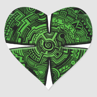 St. Patrick Dag Vier de Keltische Klaver/de Klaver Hart Sticker