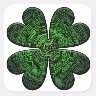 St. Patrick Dag Vier de Keltische Klaver/de Klaver Vierkant Sticker