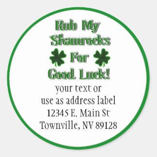 St. Patrick Dag - wrijf Mijn Klavers voor Goed Ronde Stickers