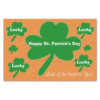 St. Patrick Groen van de Klavers van de Dag Oranje Tissuepapier