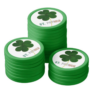 St. Patrick Irish Shamrock Clover Ierland Pook Pokerchips