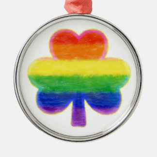 St. Patrick van de Klaver van de regenboog Dag Zilverkleurig Rond Ornament