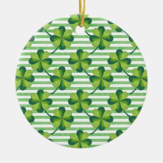St. Patrick van de Klaver van vier Bladeren het Rond Keramisch Ornament