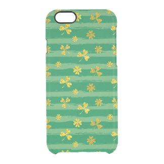 St Patrick van Golden patroon klaver het groene Doorzichtig iPhone 6/6S Hoesje
