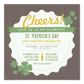 St. Patrick van het Bier van de ambacht de Dag 13,3x13,3 Vierkante Uitnodiging Kaart