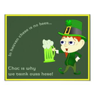 St. Patrick van het Bier van de kabouter de 10,8x13,9 Uitnodiging Kaart