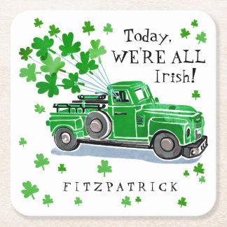 St. Patrick voegt de Groene Vintage Vrachtwagen Vierkante Onderzetter