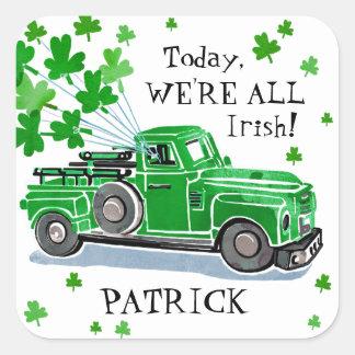 St. Patrick voegt de Groene Vintage Vrachtwagen Vierkante Sticker