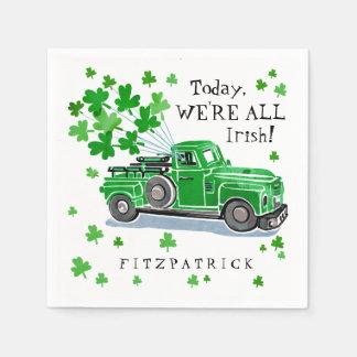 St. Patrick voegt de Groene Vintage Vrachtwagen Wegwerp Servet