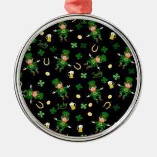 St Patricks dagpatroon Zilverkleurig Rond Ornament
