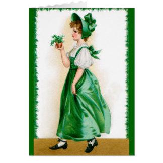 St. Patricks Vintage wenskaart - Zoet meisje