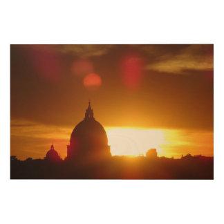 St Peter Basiliek in Rome bij Zonsondergang Hout Afdruk