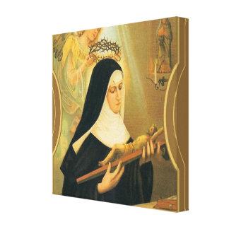 St. Rita van Cascia w/Crown van de Engel van Canvas Afdrukken