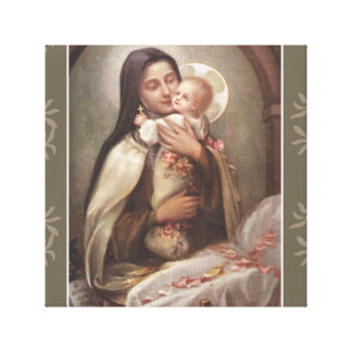 St. Therese Baby Jesus Manger Pink Rozen Canvas Print