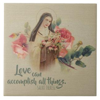 St. Therese de Kleine Roze Rozen van de Bloem Keramisch Tegeltje