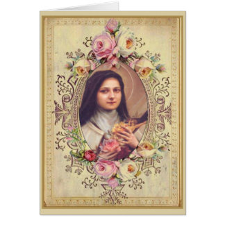 St. Therese Roses Crucifix Vintage Gold Grens Kaart