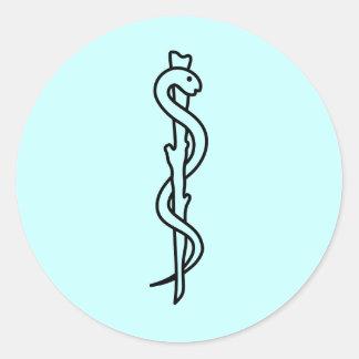 Staaf van Asclepius [medisch symbool] Ronde Sticker
