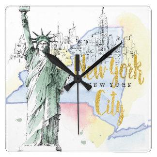 Staat van New York | Standbeeld van Vrijheid Vierkante Klok