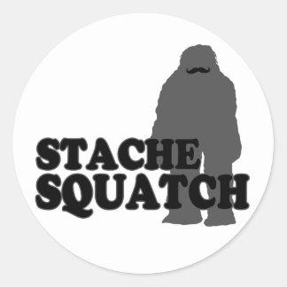 Stache Squatch Ronde Sticker
