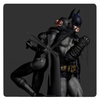 Stad   van Batman Arkham Batman en Catwoman Vierkante Klok