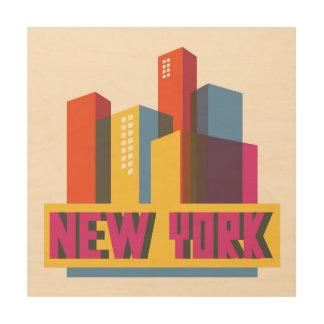 Stad   van New York de Horizon van het Neon Hout Afdruk