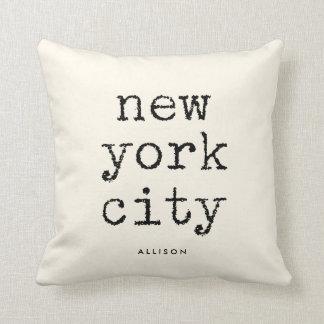 Stad | van New York de Vintage Tekst van de Sierkussen