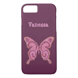 Stammen roze iPhone 7 van de Vlinder van de iPhone 7 Hoesje