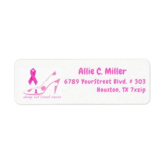 Stamp uit het Roze Lint van Kanker van de Borst Etiket