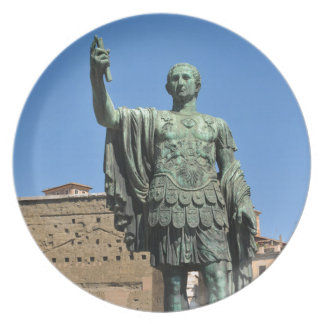 Standbeeld van Trajan in Rome, Italië Bord