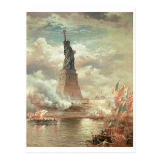 Standbeeld van Vrijheid, circa 1800's van New York Briefkaart