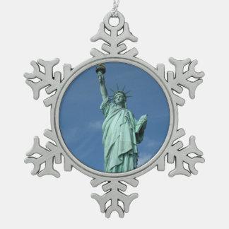 Standbeeld van Vrijheid, New York Tin Sneeuwvlok Ornament