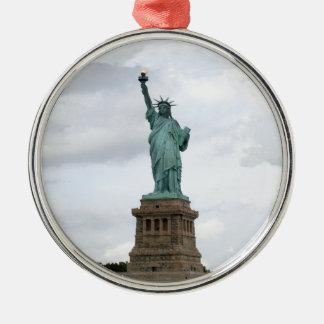 Standbeeld van Vrijheid Zilverkleurig Rond Ornament