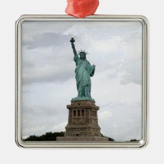 Standbeeld van Vrijheid Zilverkleurig Vierkant Ornament
