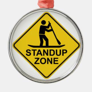Standup Verkeersteken van de Streek Paddleboarding Zilverkleurig Rond Ornament