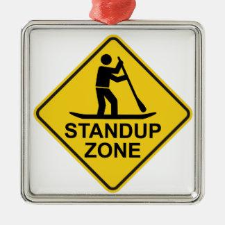 Standup Verkeersteken van de Streek Paddleboarding Zilverkleurig Vierkant Ornament