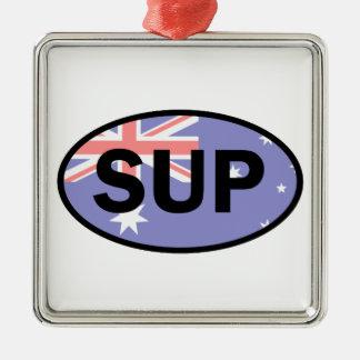 Standup Vlag van Paddleboard Australië Zilverkleurig Vierkant Ornament
