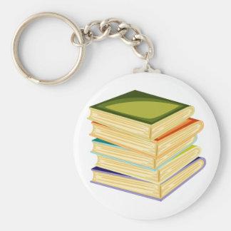 Stapel Boeken Keychain van de School Basic Ronde Button Sleutelhanger