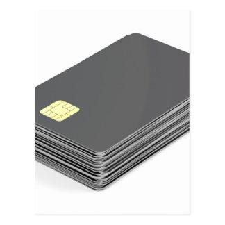 Stapel met lege plastic kaarten met spaander